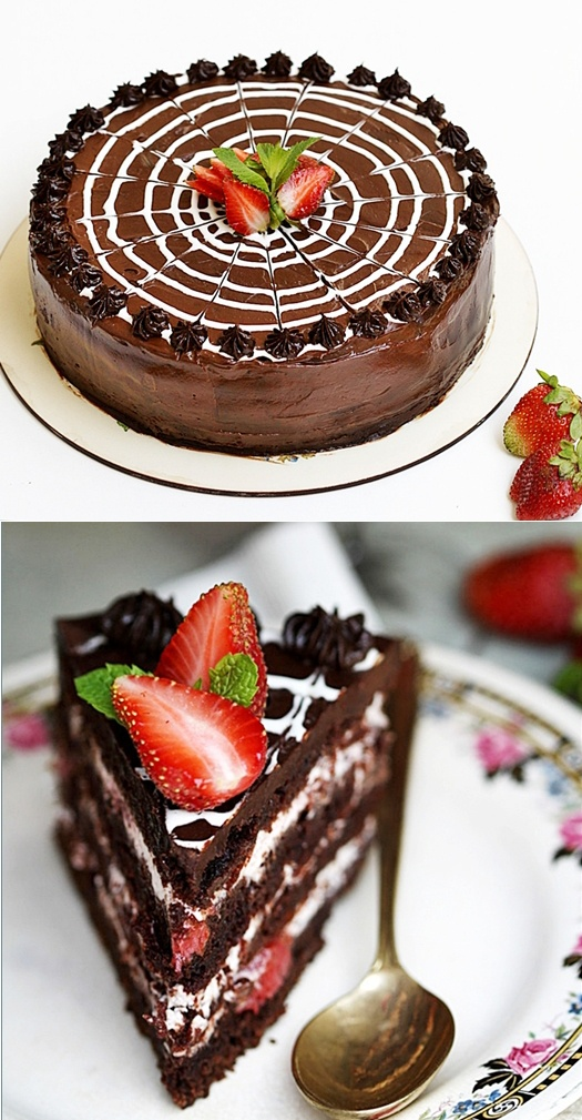 ... Chocolate Cake with Balsamic Strawberry & Cream Filling {Eggless