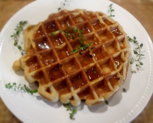 ... Cornmeal Bacon Waffles. I will sneak them in some how--maybe minus the