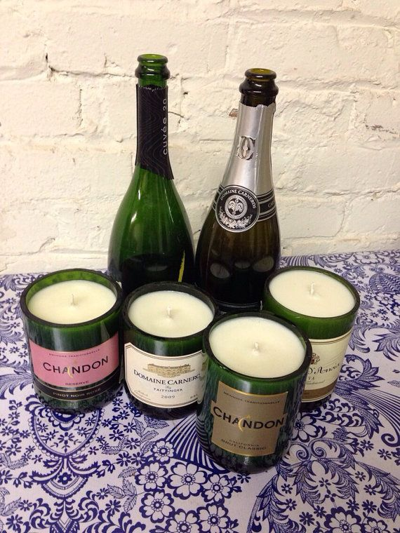 Recycled Champagne Bottle Candles by 3SheetstotheWick Try it with your ...