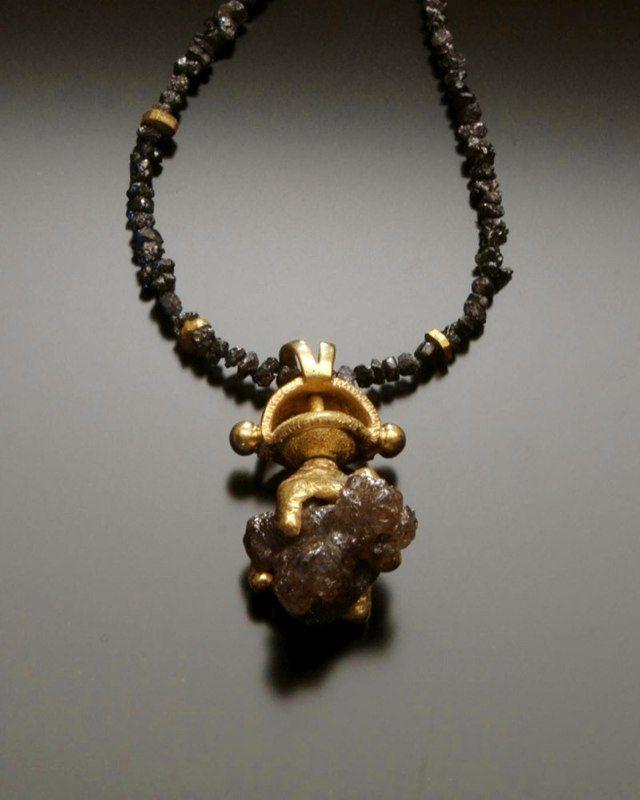 Chris Nelson ||  r2diamonds2 18k gold cast/fabricated with raw cube diamond, and diamond beads.