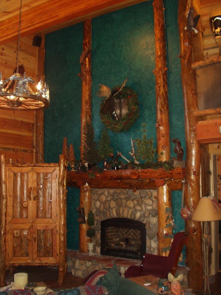 Log Cabin Fireplace Dea 39 S Designs Pinterest