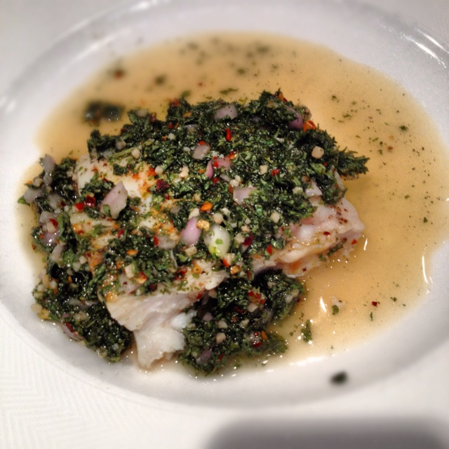 Halibut with Chimichurri. Got the recipe from Epicurious. Delicious ...