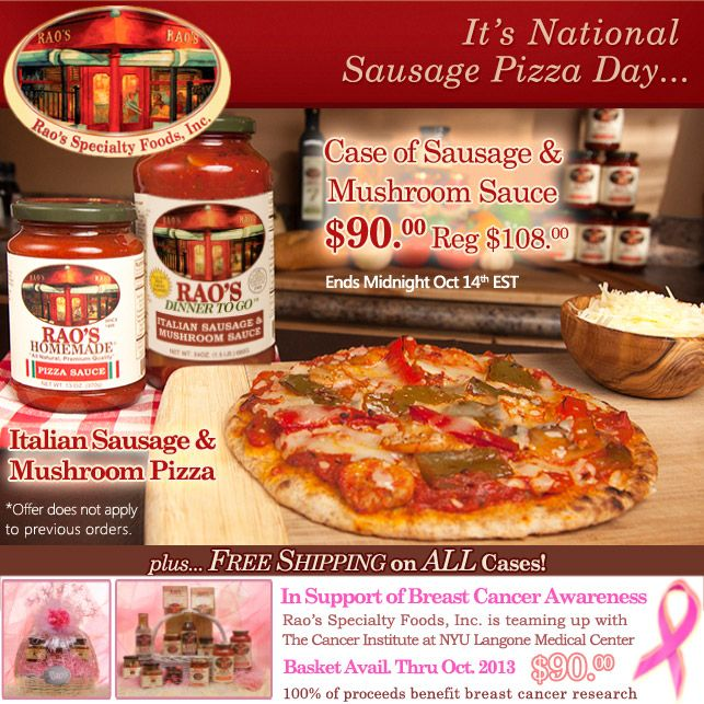 It's National Sausage Pizza Day! Case of Sausage & Mushroom Sauce $90...