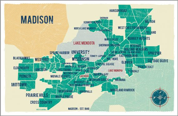 Madison City Map in Turquoise Vintage Style Print 11x17