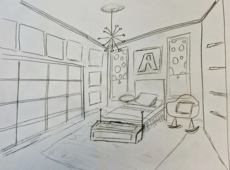 how to draw a girl in her room