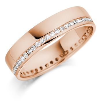 rose gold band with diamonds all around
