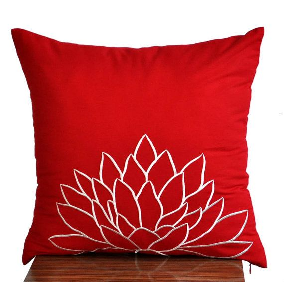 Decorative Linen Pillow Covers : White Lotus Throw Pillow Cover,Decorative Pillow Cover, Red Linen Whi?