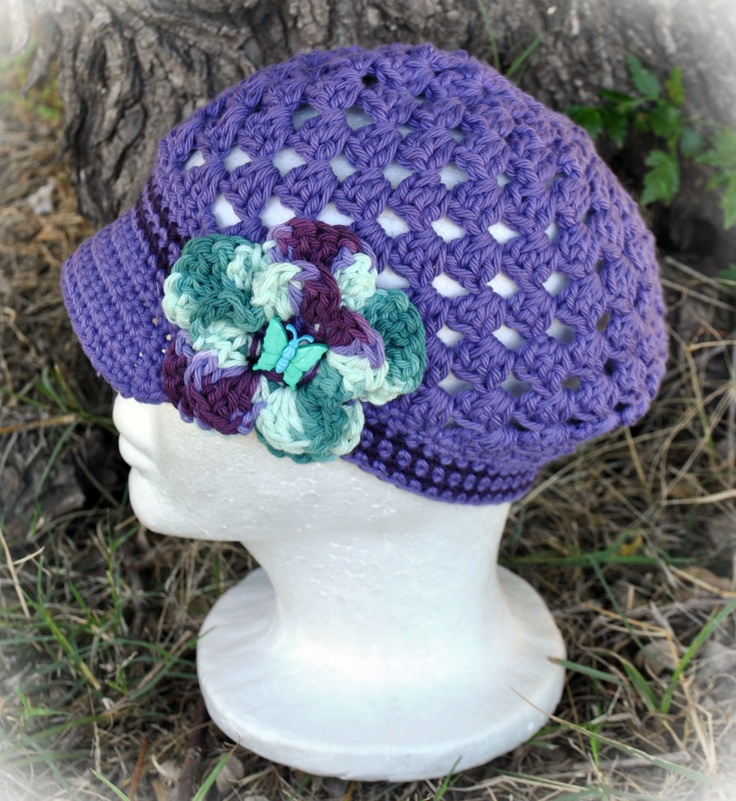 Crochet Stitch Open : Open-stitch newsgirl hat
