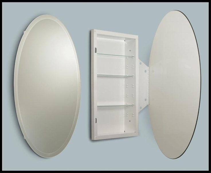 Beveled oval medicine cabinet medicine cabinets pinterest Oval bathroom mirror cabinet