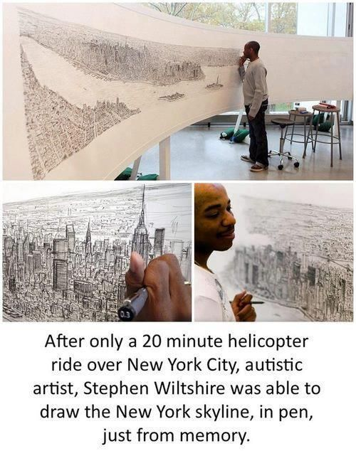 After only a 20-minute helicopter ride over New York City, Savant artist, Stephen Wiltshire was able to draw the NYC skyline, from memory.    Via Artify it