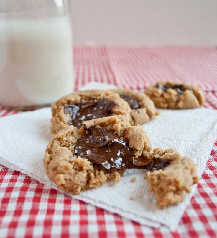 Peanut Butter Chocolate Thumbprint Cookies with Sea Salt ...