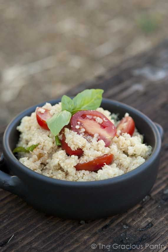 Clean Eating Garlic Parmesan Quinoa. I would just switch out for ...