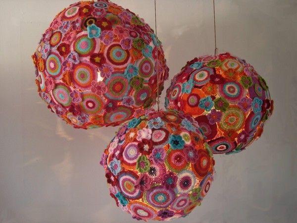 Crochet chandelier (saw link on CrochetTime blog: http://crochetime.wordpress.com/2012/01/19/a-crocheted-chandelier/)