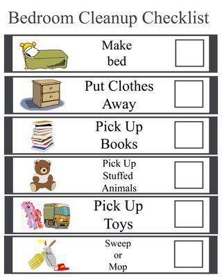 kids bedroom cleanup checklist organize pinterest