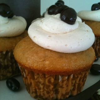 French vanilla cupcake, mocha frosting topped with a chocolate ...