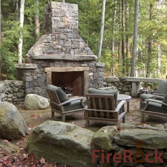 Backyard Fireplace Kits : FireRock Outdoor Fireplace Kit  Backyard  Pinterest