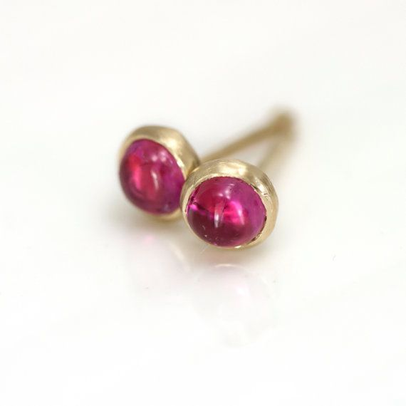 ready to ship pink tourmaline stud earrings in 14k yellow