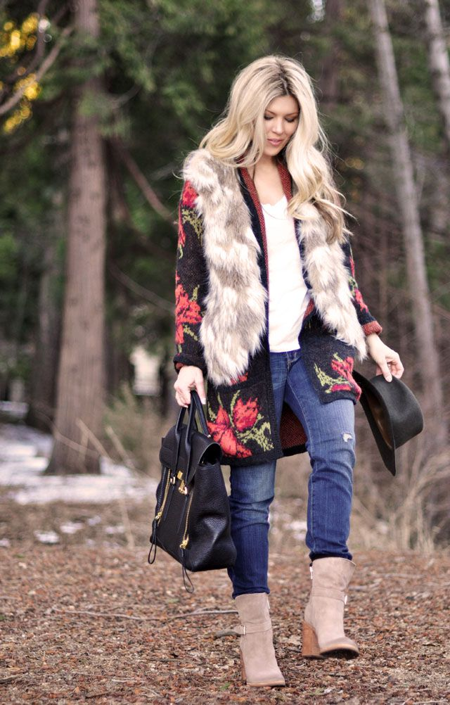 Love Maegan   woodsy outfit in the woods, faux fur vest