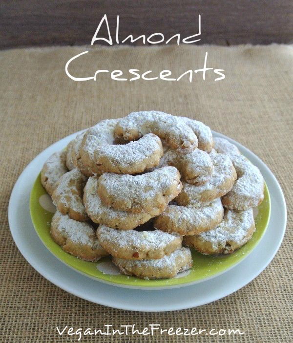 vegan almond crescents