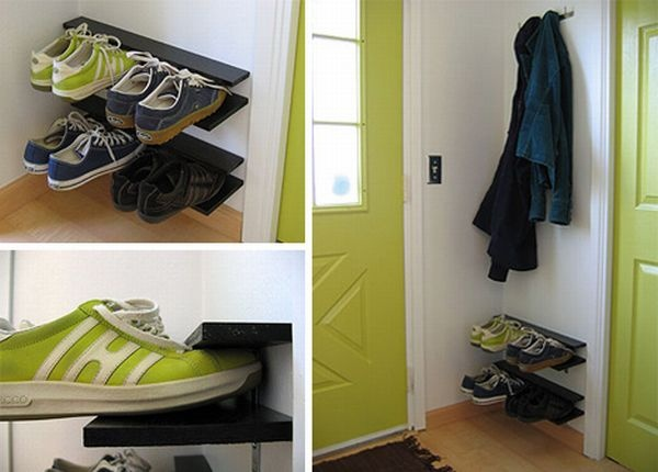 how to make a diy hanging shoe rack for small spaces. Black Bedroom Furniture Sets. Home Design Ideas