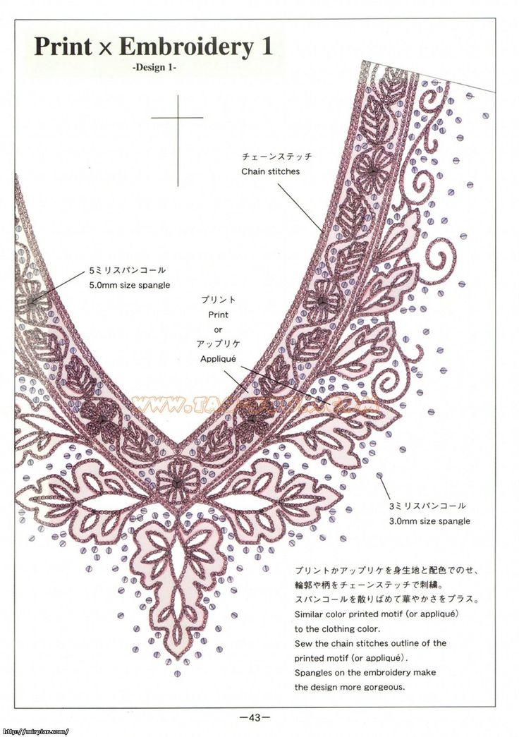 Узор для вышивки бисером на платье 44
