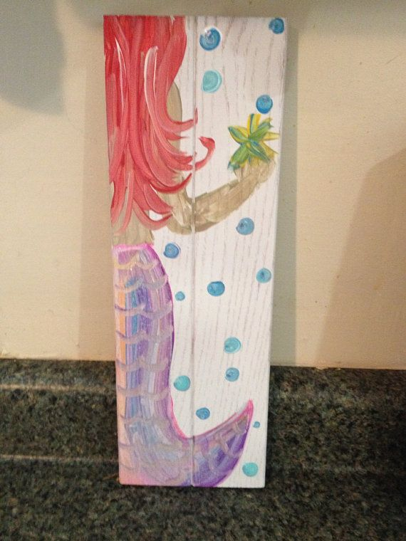 12x3 wooden mermaid bathroom decor for Mermaid bathroom ideas
