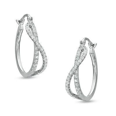 1 4 ct t w hoop earrings in 14k white gold