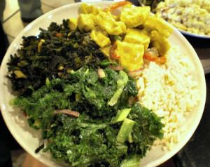 ... chewy seaweed salad, curried tofu salad with bell peppers, brown rice