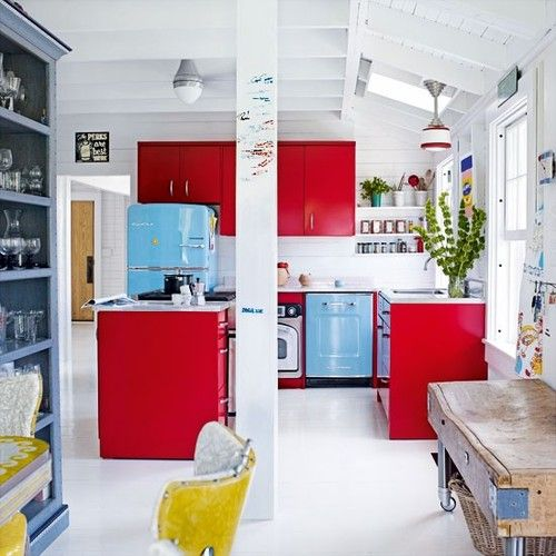 red yellow and blue decor kitchen pinterest