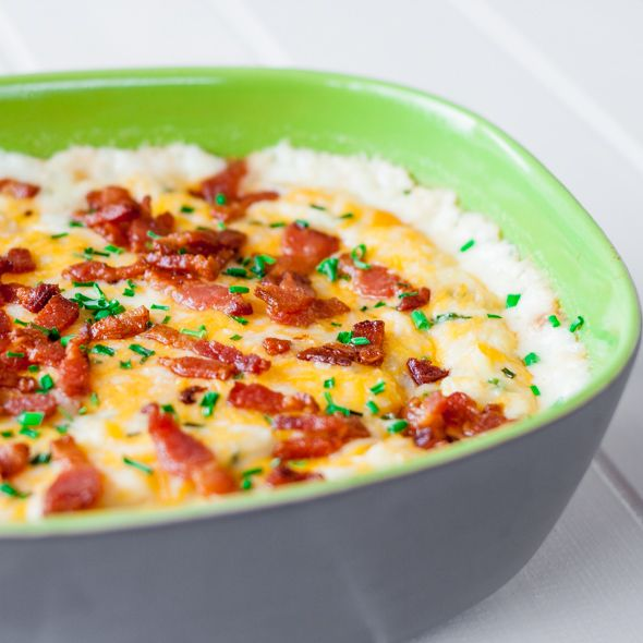 Cheesy Mashed Potatoes with Bacon and Chives | Jo Cooks