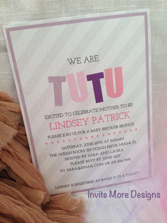 tutu baby shower invitation birthday invitation