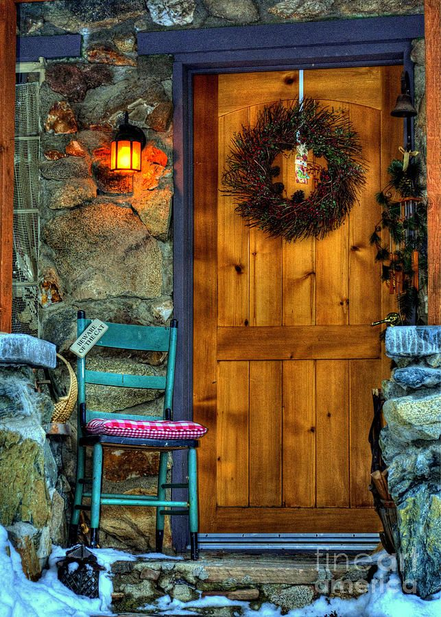 Country Cottage Door At Christmas Print By K D Graves
