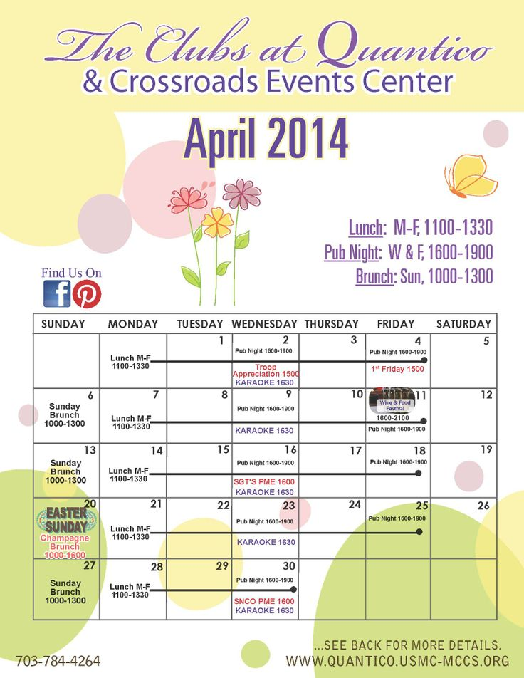 April Calendar Of Events : April calendar of events the clubs at quantico