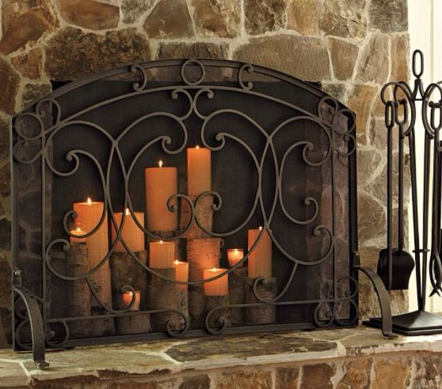 Pottery Barn Fireplace Screen Kitchen And Family Room Re Do Pinte