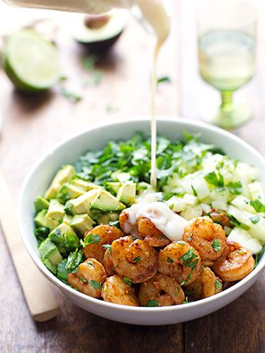 Shrimp and avocado salad with miso dressing: 10 Salad Dinners That Fill You Up