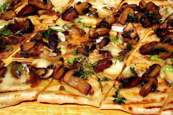 Grilled Flatbread with Crimini Mushrooms, Taleggio and Truffle Oil