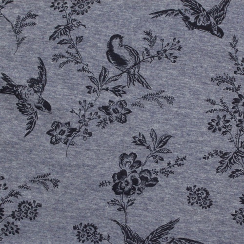 Vintage Bird Floral on Blue Cotton Jersey Knit Fabric