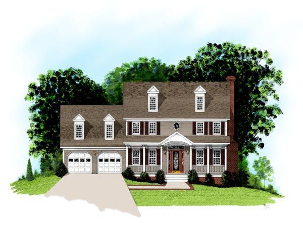Colonial Country House Plan 92498