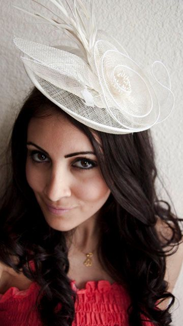 Ivory Fascinator  PIPPA Mesh Couture English Hat by EyeHeartMe, $48.00
