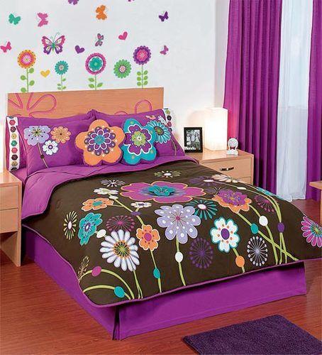 new girls teen brown purple garden flowers comforter bedding sheet set