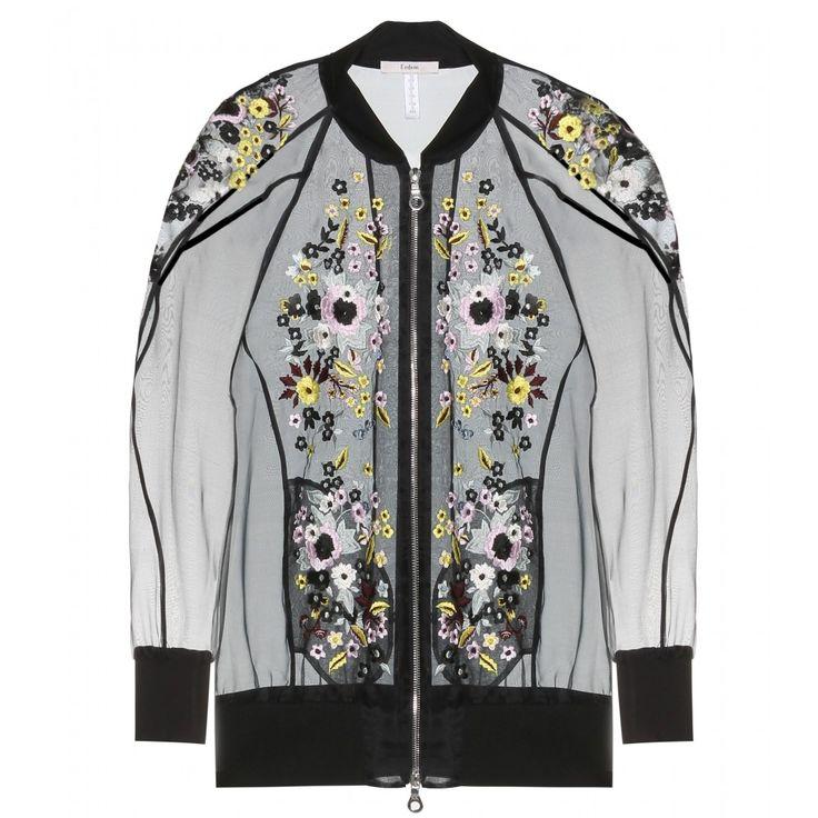 Shop now: Erdem Dani Embroidered Eilk-blend Organza  Bomber Jacket