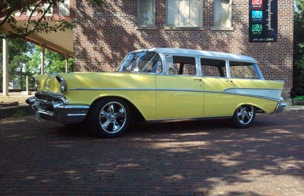 57 chevy 4 door wagon bowtie pinterest for 1957 chevy wagon 4 door