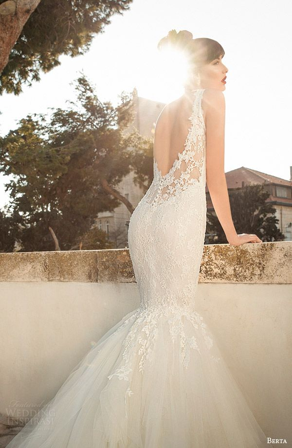 berta bridal edition 2014 2015 sleeveless mermaid wedding dress straps close up