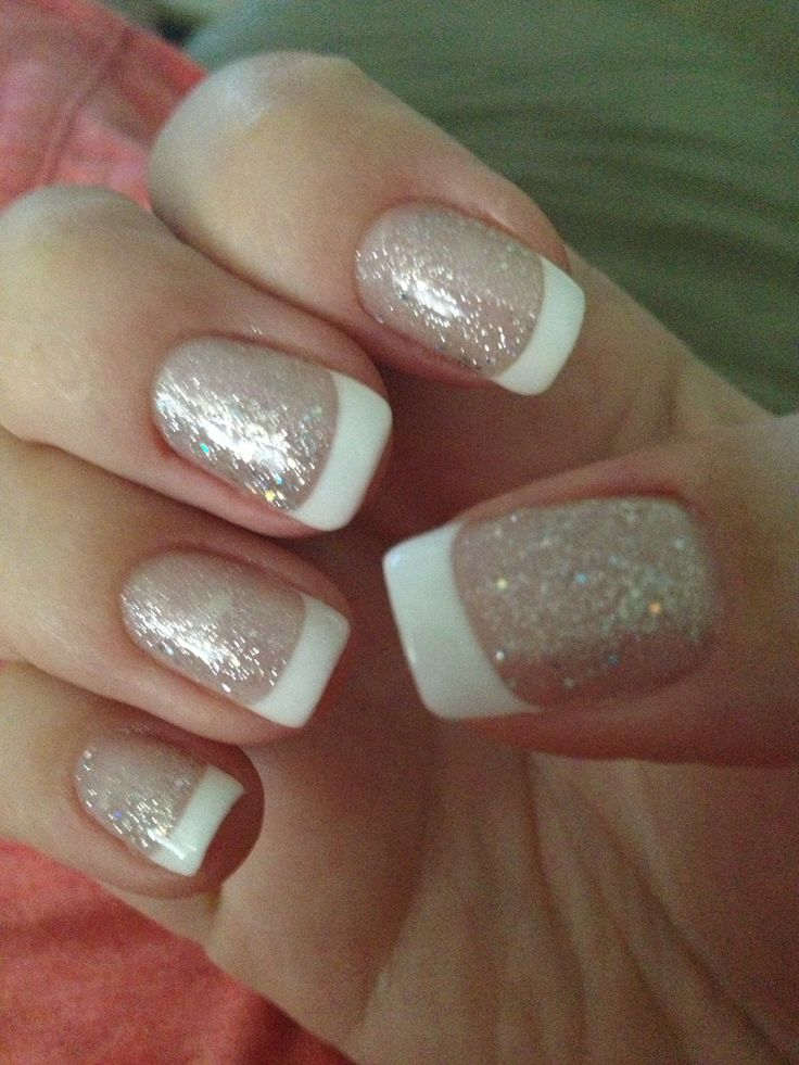 french manicure with glitter nails pinterest. Black Bedroom Furniture Sets. Home Design Ideas