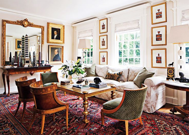 The Best Style Lessons 12 Top Designers Learned From Mom // Mother's Day, Timothy Corrigan, living room by @Timothy Corrigan