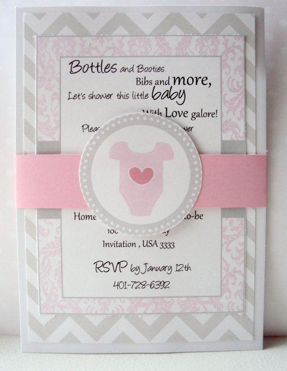 baby shower invitation pink and grey invitation onsie invitation