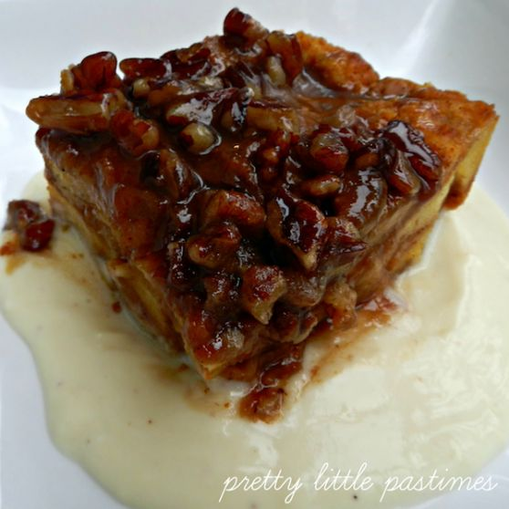 Pumpkin pecan bread pudding with whiskey cream sauce
