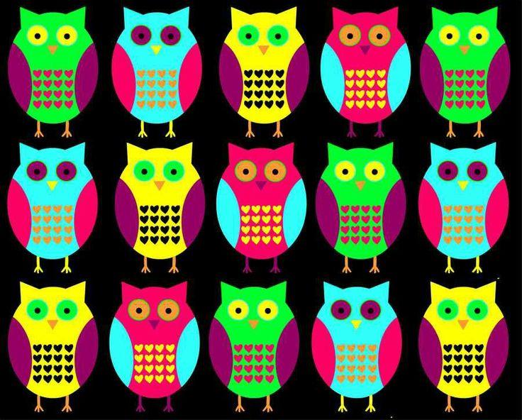 Neon owl wallpaper...