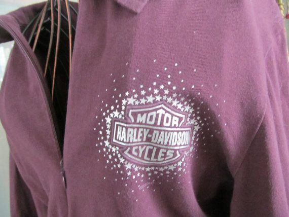 Purple Harley Davidson Long Sleeve Blouse Obsolete N H Dealer Harley