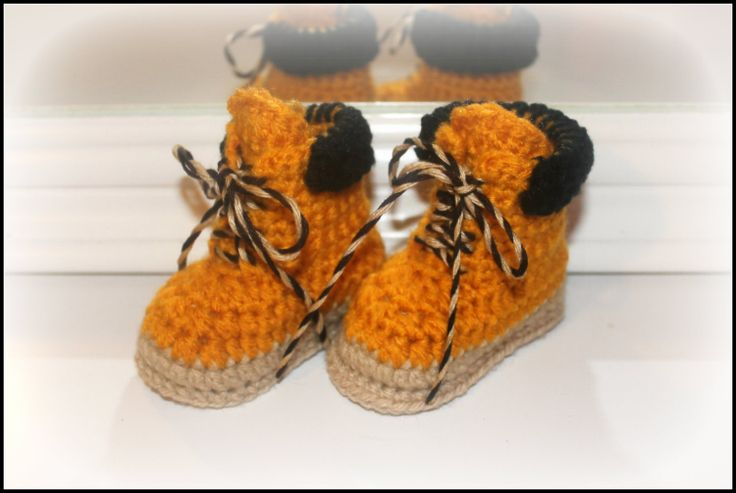 Crochet Work : Crochet baby work boots construction worker by TheJellyBoutique, $24 ...